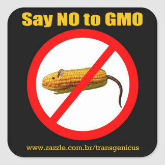 """Say IN GMO Stiker 3 """" x3 """" Square Sticker"""