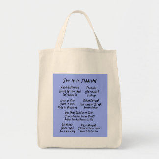 Say it in Yiddish Blue Grocery Tote Bag