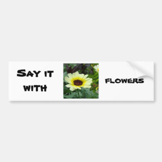 Say it with yellow daisies car bumper sticker