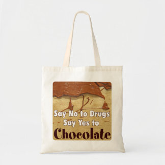 say no drugs, chocolate tote bag