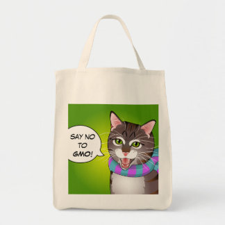 Say NO GMO Hipster Tabby Cat Shopping Bag