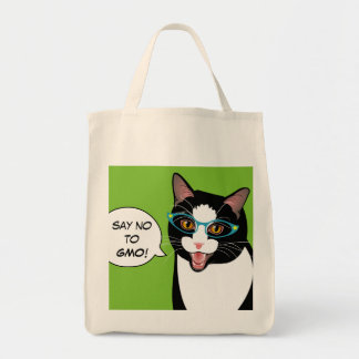Say NO GMO Hipster Tuxedo Cat Shopping Bag