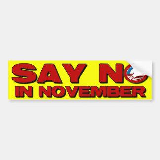 Say No in November - Anti Obama Bumper Stickers