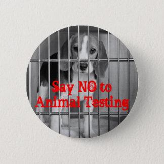 """Say No to Animal Testing"" Beagle button pin"