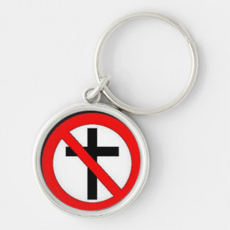 Say no to Christianity. Silver-Colored Round Keychain