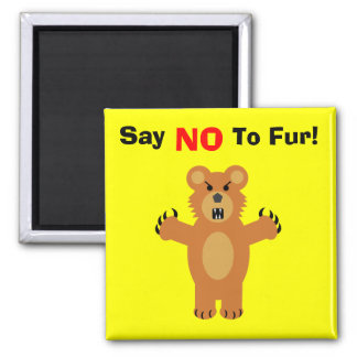 Say NO To Fur! 2 Inch Square Magnet