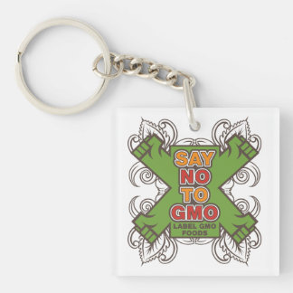 Say No to GMO Single-Sided Square Acrylic Keychain