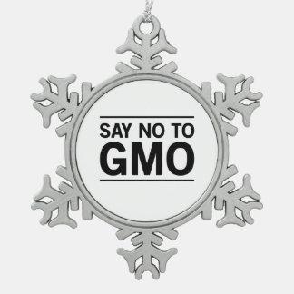 Say No To GMO Snowflake Pewter Christmas Ornament