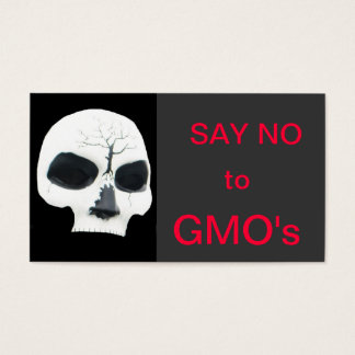 say no to gmo's - skull business card