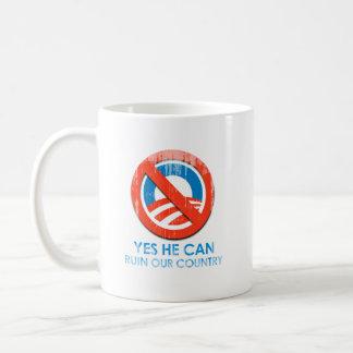 Say No To Obama 3 ruin Faded.png Classic White Coffee Mug
