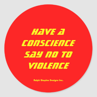 Say no to violence classic round sticker