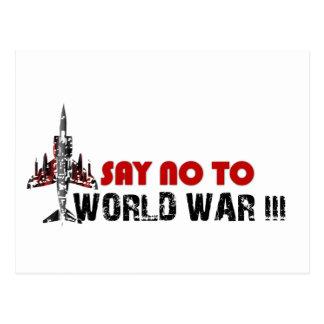 Say no to world war 3 postcard