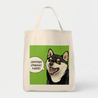 Say ORGANIC Hipster Shiba Inu Dog Shopping Bag