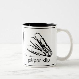 Say Paper Clip Black & White Two-Tone Coffee Mug