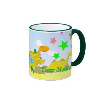 Say Rawr! Cute Cartoon Dinosaurs Name Mug