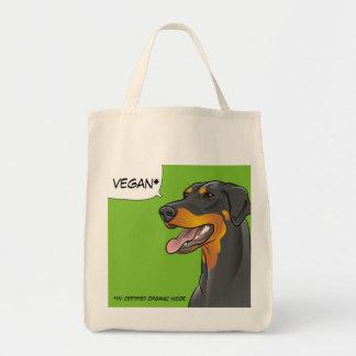 Say VEGAN Hipster Doberman Dog Shopping Bag