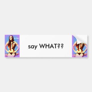 say what bikini girl bumper sticker