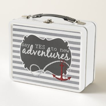 Beach Themed Say YES to New Adventures Nautical Stripes Metal Lunch Box