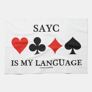 SAYC es mi lengua (cuatro juegos de la tarjeta) Toallas De Mano