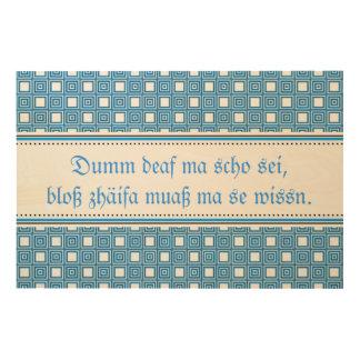 Saying board wood print