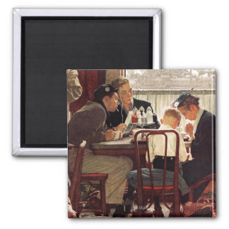 Saying Grace by Norman Rockwell 2 Inch Square Magnet