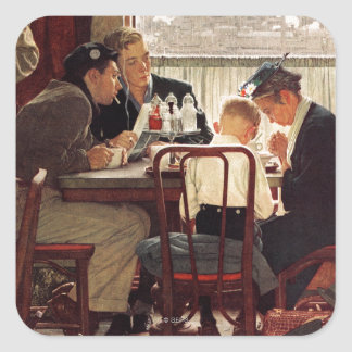 Saying Grace by Norman Rockwell Square Sticker