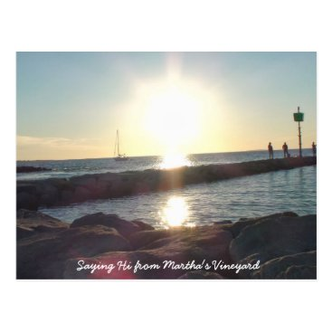 Beach Themed Saying HI from Martha's Vineyard Beach Post Card