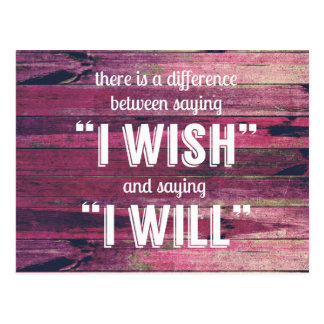 Saying I Will Motivational Inspirational Postcard