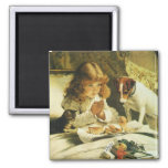 Saying Our Prayers, Suspense Charles Burton Barber 2 Inch Square Magnet