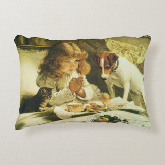 Saying Our Prayers, Suspense Charles Burton Barber Accent Pillow