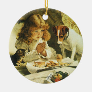 Saying Our Prayers, Suspense Charles Burton Barber Double-Sided Ceramic Round Christmas Ornament