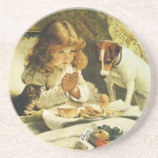Saying Our Prayers, Suspense Charles Burton Barber Drink Coaster