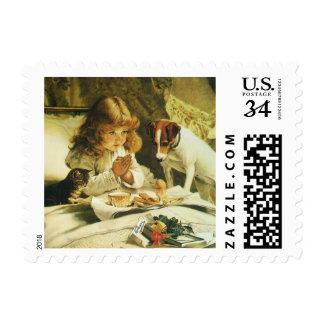 Saying Our Prayers, Suspense Charles Burton Barber Postage Stamp