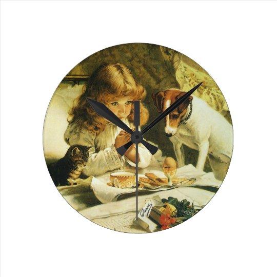 Saying Our Prayers, Suspense Charles Burton Barber Round Clock
