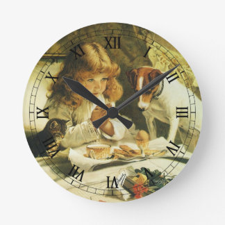 Saying Our Prayers, Suspense Charles Burton Barber Round Wall Clocks