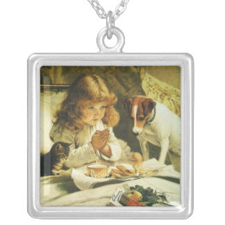 Saying Our Prayers, Suspense Charles Burton Barber Square Pendant Necklace
