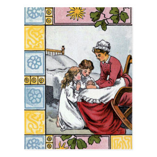 """""""Saying Prayers with Momma"""" Vintage Postcard"""