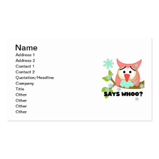 Says Whoo Owl Business Cards