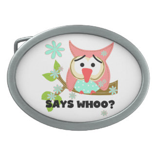 Says Whoo Owl Oval Belt Buckle