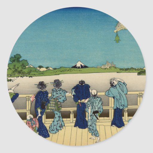 Sazai Hall, Temple of Five Hundred Rakan, Hokusai Classic Round Sticker