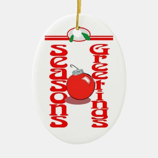 sazona saludos adorno navideño ovalado de cerámica