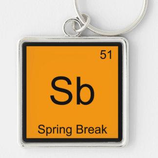 Sb - Spring Break Chemistry Element Symbol Funny T Key Chain