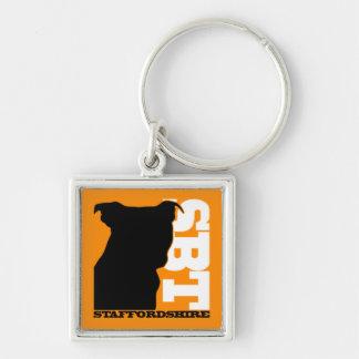 SBT Keychain Org/Wht  Staffordshire Bull Terrier