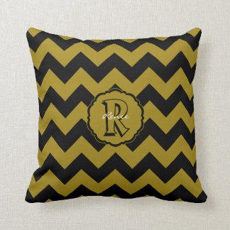 SC Chevron,Black-Gold Letter R Sq. Pillow