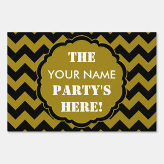 SC Chevron Party Sign, Black and Gold Yard Sign