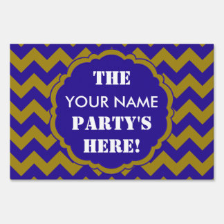 SC Chevron Party Sign, Blue and Gold Sign