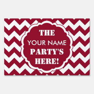 SC Chevron Party Sign, Burgundy and White Yard Sign