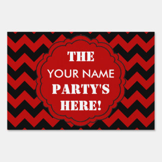 SC Chevron Party Sign, Red and Black Sign