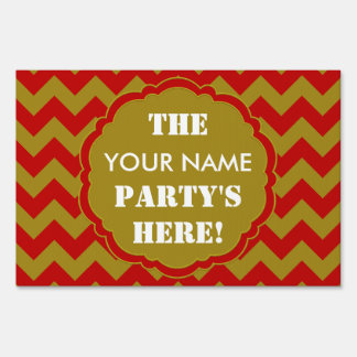 SC Chevron Party Sign, Red and Gold Lawn Sign