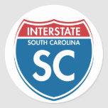 SC de un estado a otro de Carolina del Sur Etiqueta Redonda